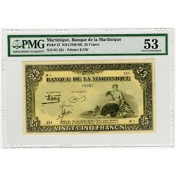 Banque de la Martinique. ND (1943-1945). Issued Banknote.