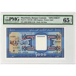 Banque Centrale de Mauritanie. 1974. Specimen Banknote.