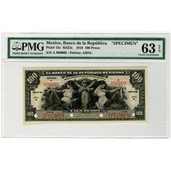 Banco de la Republica. 1918. Specimen Banknote.