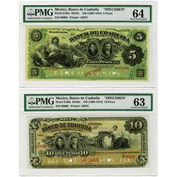 Banco de Coahuila. ND (1898-1914). Specimen Banknote.