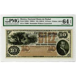 Nacional Monte de Piedad. 1880-1881. Remainder Banknote.