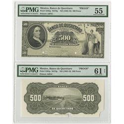 Banco de Queretaro, 19xx (ca. 1903-10) Uniface Front & Back Banknote Proofs.