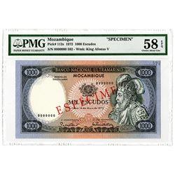 Banco Nacional Ultramarino. 1972. Specimen Banknote.