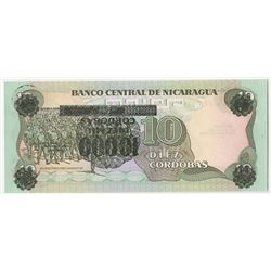 Banco Central de Nicaragua. 1989. Inverted Overprint Error Provisional Banknote.