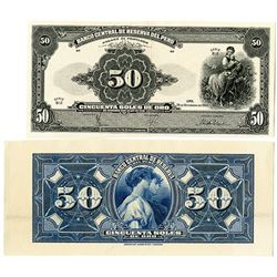 Banco Central De Reserva Del Peru. 1950 F&B Proof Banknotes