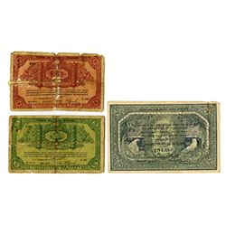 "Government Bank (White Regime), Archangel, 1918, Trio of Issued ""Checks"""
