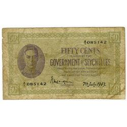 Government of Seychelles, 1943 Issue Banknote.