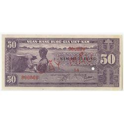 National Bank of Vietnam. 1956. Uniface Specimen Proof Banknote.