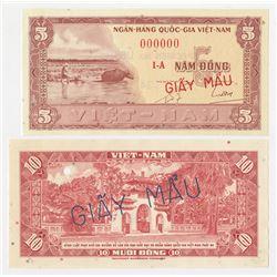 National Bank of Vietnam. 1955-1962, Face & Back Uniface Specimen Proof Banknotes.