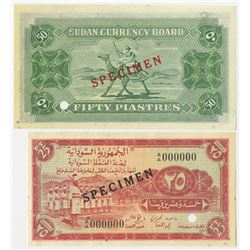 Sudan Currency Board. 1956. Pair of Specimen Currency Notes.