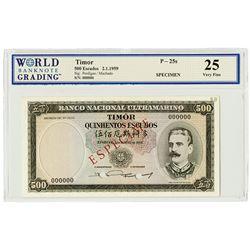 Banco Nacional Ultramarino. 1959. Issued Banknote.