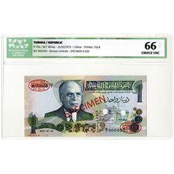 Banque Centrale de Tunisie. 1973. Specimen Banknote.