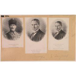 Turkey Proof Vignette Trio, ca.1920-30's of Mustapha Kemal Pacha.