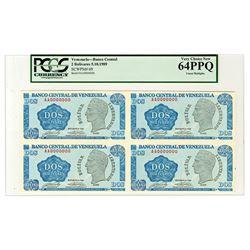 Banco Central De Venezuela, 1989 Uncut Block of 4 Specimen Notes.