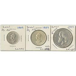 Brazil, 1889, Trio of Silver Coins.
