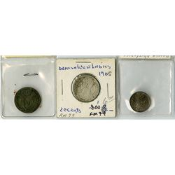 Danish West Indies, 1767-1905, Trio of Silver Coins.