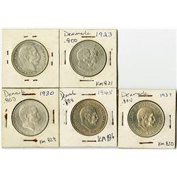 Denmark, 1912-1945, Quintet of Silver 2 Kroner Coins.