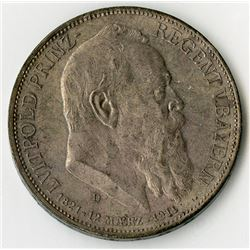 Bavaria, 1911, Silver Prince Regent Luitpold Coin.
