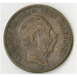 Saxony, 1876, Silver King Albert von Sachsen Coin.
