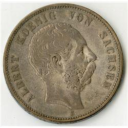 Saxony, 1898, Silver King Albert von Sachsen Coin.