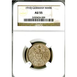Empire. 1910J. 1 Mark. NGC graded AU 55.