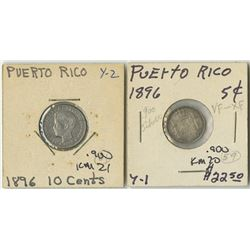 Puerto Rico, 1896, Lot of 2 Silver Alfonso XIII Decimal Coins.