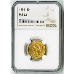 U.S. $5 Liberty Gold. 1882 Liberty Head Half Eagle. MS 62 (NGC).