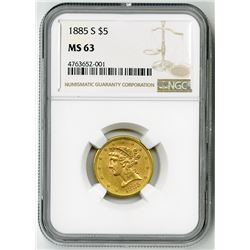 U.S. $5 Liberty Gold. 1885-S Liberty Head Half Eagle. MS 63 (NGC).