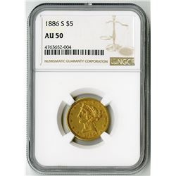U.S. $5 Liberty Gold. 1886-S Liberty Head Half Eagle. AU 50 (NGC).