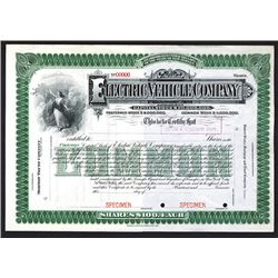 Electric Vehicle Co. 1904 Specimen Share Certificate