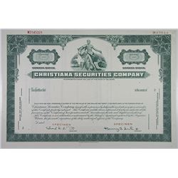 Christiana Securities Co., 1950-1960s Specimen Stock Certificate