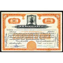 S.W. Straus & Co., 1929 I/U Stock Certificate