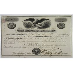 Empire City Bank, 1852 I/U Stock Certificate.