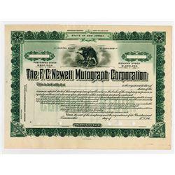 F.C. Newell Mutograph Co., 1900-1909 Specimen Stock certificate.