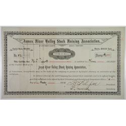 James River Valley Stock Raising Association, 1884 I/U Stock Certificate.
