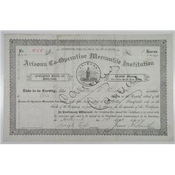 Arizona Co-Operative Mercantile Institution, 1891 I/C Stock Certificate