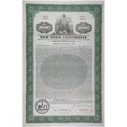 New York University, 1936 Specimen Bond Rarity