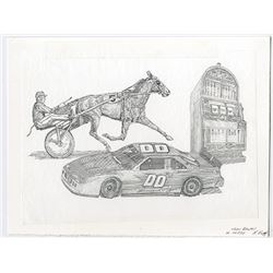 Dover Downs Entertainment, Inc. 1996 Specimen Stock Certificate with Original Artwork by Richard Bar