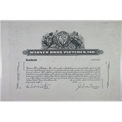 Warner Bros. Pictures, Inc., 1961, Progress Proof Stock Certificate.