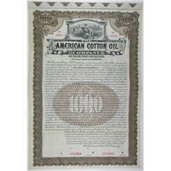 American Cotton Oil Co. 1911 Specimen Bond, Part of the Original Dow Jones Industrial Average