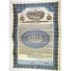 H.J. Heinz Company, 1920 Specimen Bond