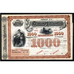Banco Agricola Specimen, ca.1880's Specimen Bill of Credit/Bond.