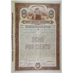 Banco Agricola Hipotecario, 1924 Specimen Bond
