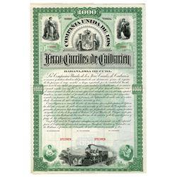 Compania Unida de los Ferro-Carriles de Caibarien, 1892 Specimen Coupon Bond.