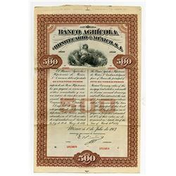 Banco Agricola e Hipotecario De Mexico 1907 Specimen Bond