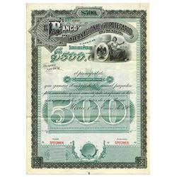 Banco Internacional _ Hipotecario de Mexico, 1904 Specimen Bond