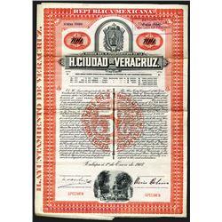 Ciudad De Veracruz, 1907 Specimen Bond.