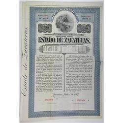 Estado de Zacatecas 1907 Specimen Bond.