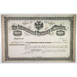 International Company of Mexico, 1884 Proof Stock Certificate
