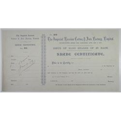Imperial Russian Cotton & Jute Factory Ltd. 1880's, Specimen Stock.